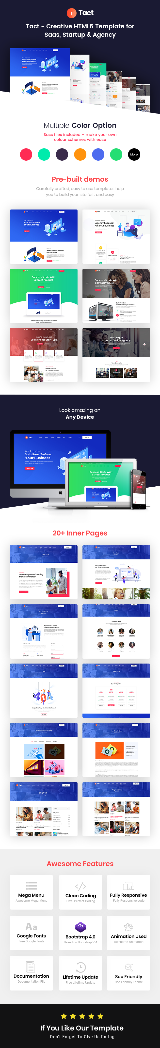Tact : Creative HTML5 Template for Saas, Startup & Agency